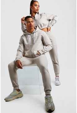 His Zip Hooded Tracksuit With Piping, Stone