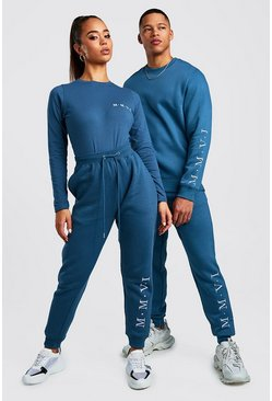 Mens Petrol His Embroidered Sweater Tracksuit