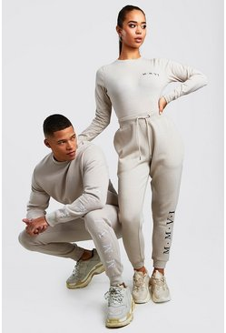 Mens Stone His Embroidered Sweater Tracksuit
