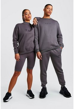 Charcoal His Raw Edge Loose Fit Sweater Tracksuit