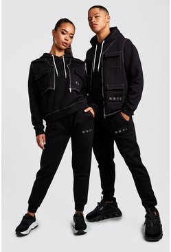 Black His 3 Piece Utility Tracksuit With Contrast Stitching