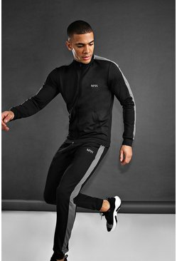 MAN Skinny Fit Funnel Neck Tracksuit, Black