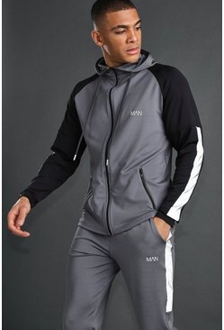 Charcoal MAN Zip Through With Reflective Detail
