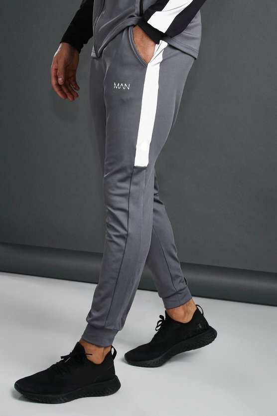 Mens Charcoal MAN Tapered Jogger With Reflective Panel