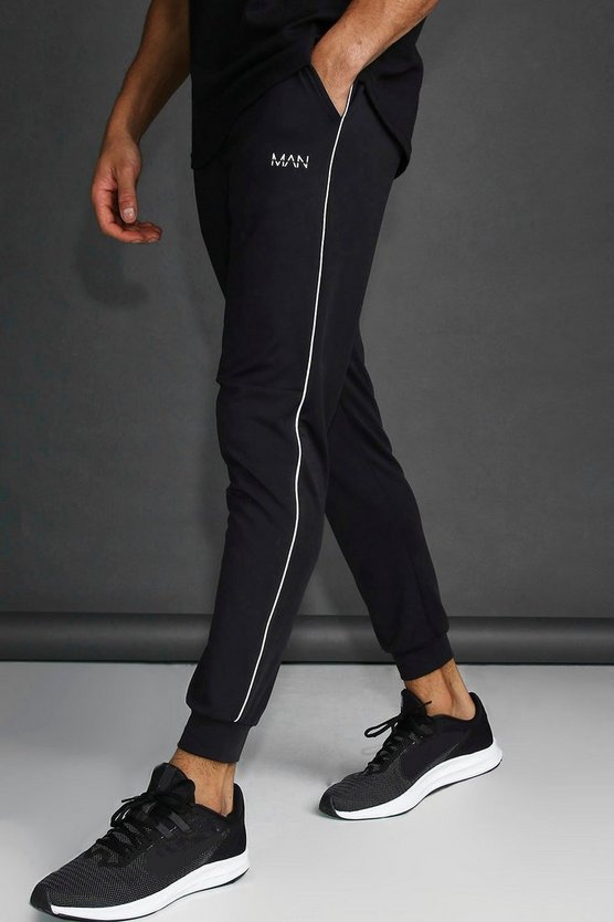 Mens Black MAN Skinny Tapered Jogger With Reflective Detail