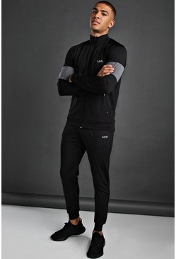Black MAN Poly Skinny Tracksuit With Panel Detail
