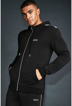Black MAN Skinny Fit Panelled Zip Through Hoodie