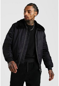 Black Padded Bomber With Faux Fur Collar