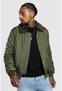 Mens Khaki Padded Bomber With Fur Collar