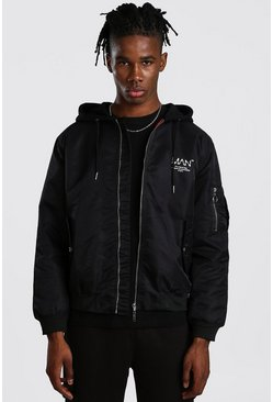 MAN Utility Bomber Jacket With Jersey Hood, Black