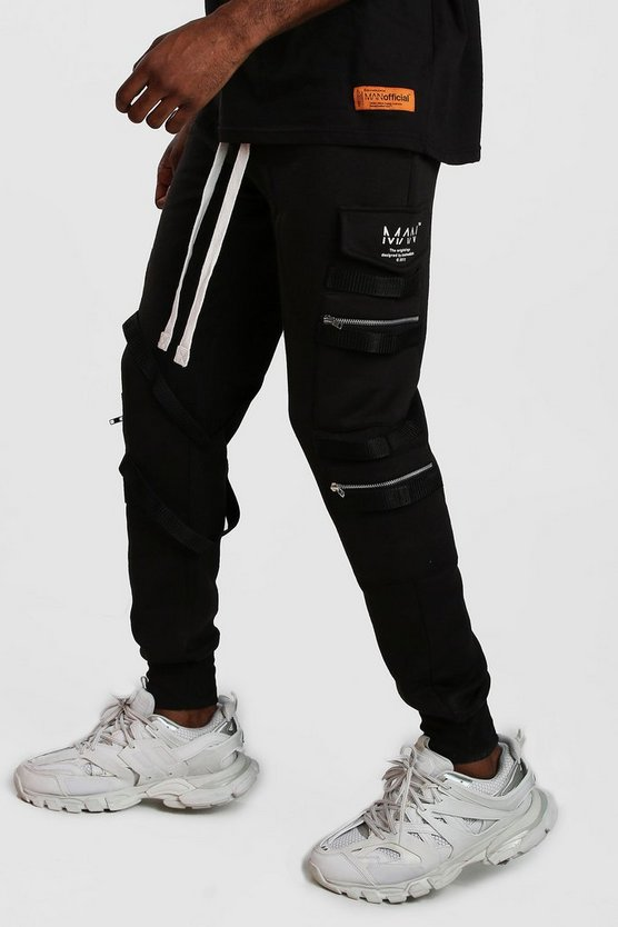 Man Utility Zip Joggers With Extended Cuff by Boohoo Man