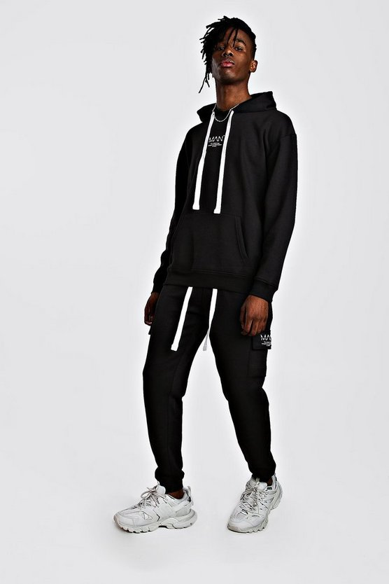Black MAN Utility Loose Fit Back Print Hooded Tracksuit
