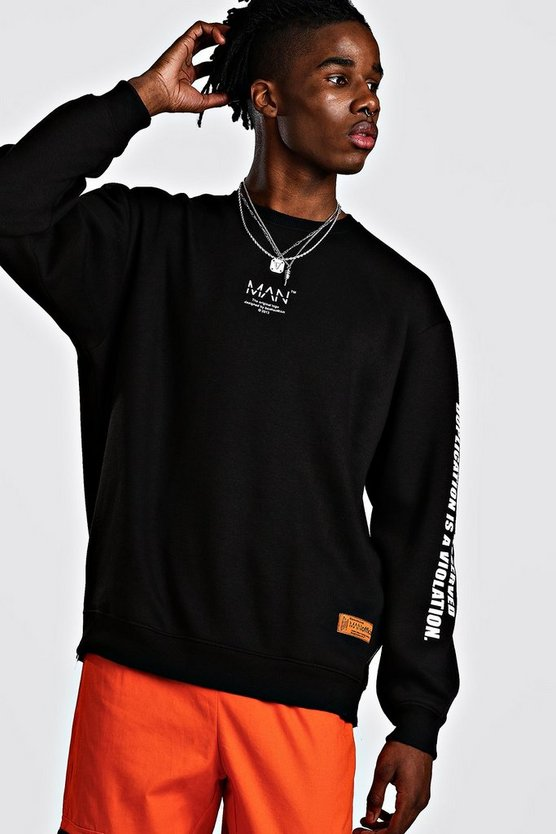 Mens Black MAN Utility Sleeve Print Sweater With Zips