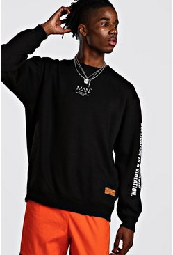 Black MAN Utility Sleeve Print Sweater With Zips