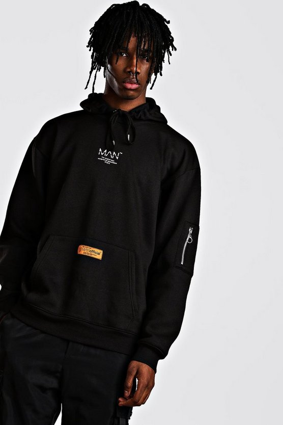 Mens Black MAN Utility Oversized MA1 Hoodie With Tab