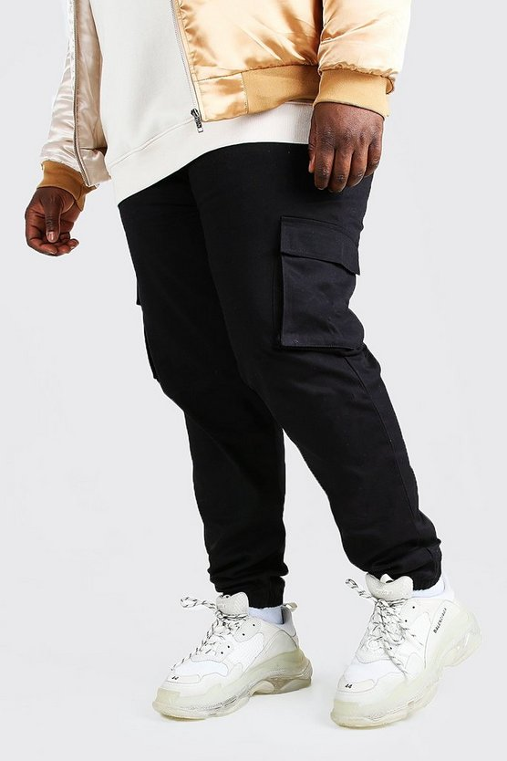 big and tall utility pocket cargo jogger trouser boohooman. Black Bedroom Furniture Sets. Home Design Ideas