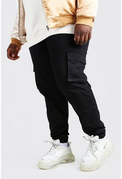 Black Big And Tall Utility Pocket Cargo Jogger Trouser