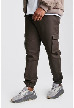 Big And Tall Utility Pocket Cargo Jogger Trouser, Khaki