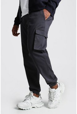 Charcoal Big And Tall Utility Pocket Cargo Jogger Trouser
