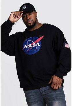 Big And Tall NASA Front And Sleeve Print Sweater, Black, HERREN