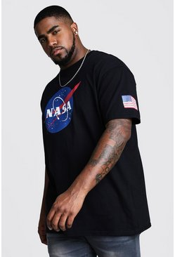 Black Plus Size NASA Sleeve Print License T-Shirt