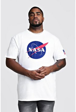Mens White Big And Tall NASA Front And Sleeve Print T-Shirt