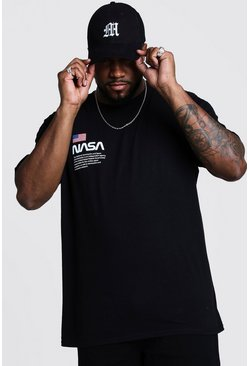 Black Plus Size NASA Chest Print License T-Shirt