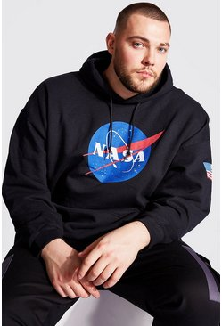 Black Big And Tall NASA Sleeve Print License Hoodie