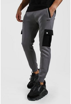 Skinny Fit Cargo Jogger With Contrast Pockets, Charcoal