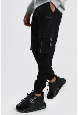 Mens Black Original MAN Shell Cargo Jogger With Tabs