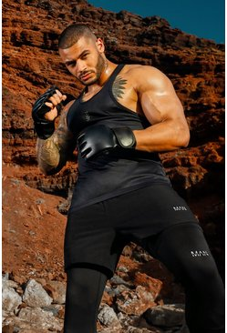 Black Man Active Poly Gym Racer Tank Top