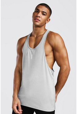 Silver Man Active Poly Gym Racer Singlet