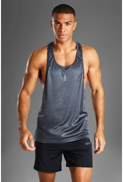 Charcoal Man Active Poly Gym Racer Singlet