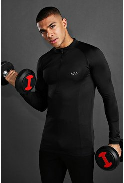Black MAN Active Muscle Fit Long Sleeve Zip Top