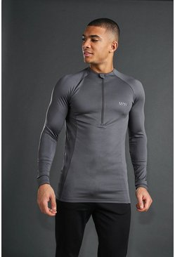 Charcoal MAN Active Muscle Fit Long Sleeve Zip Top