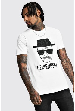 Mens White Breaking Bad Heisenberg License T-Shirt