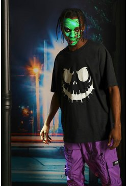 Mens Black Halloween Glow In The Dark Face T-Shirt