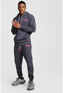 MAN Badge Hooded Tracksuit With Ribbed Detail, Charcoal, HERREN