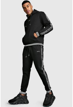 MAN Tape Tracksuit With Contrast Rib, Black, HERREN