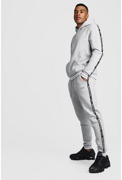 Mens Grey marl MAN Tape Tracksuit With Contrast Rib