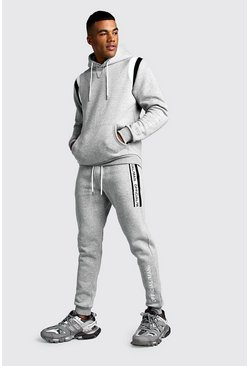 Official MAN Contrast Panel Hooded Tape Tracksuit, Grey, HERREN