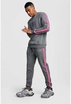 Official MAN Tape Sweater Tracksuit, Charcoal, HOMMES
