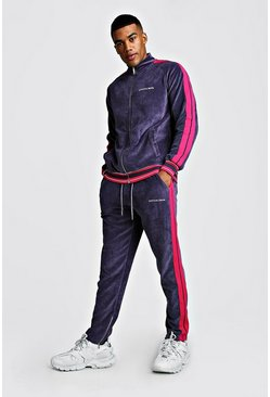 MAN Signature Velour Zip Through With Tape, Charcoal, HOMMES