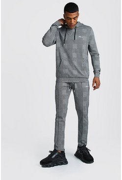 MAN Signature Jacquard Check Hooded Tracksuit, Grey, HERREN