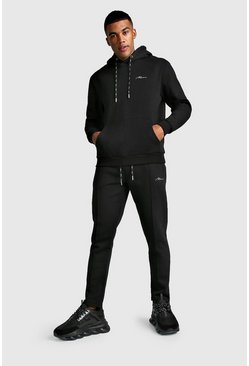MAN Signature Smart Hoodie & Pintuck Jogger Set, Black, HOMMES