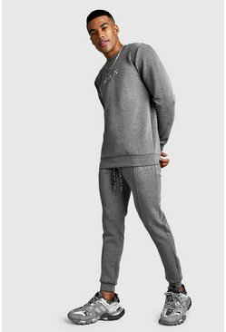 MAN Smart Scuba Sweater & Pintuck Jogger Set, Charcoal, HERREN