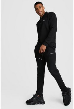 MAN Signature Scuba Half Zip Harrington Tracksuit, Black, HOMMES