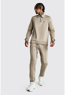 Mens Taupe MAN Signature Scuba Half Zip Harrington Tracksuit