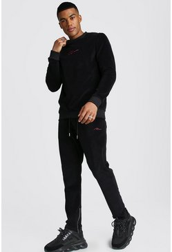MAN Signature Velour Sweater Tracksuit, Black, HERREN