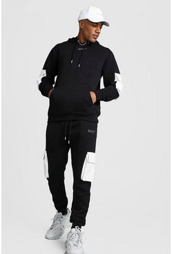 Original MAN Contrast Utility Hooded Tracksuit, Black, HOMMES